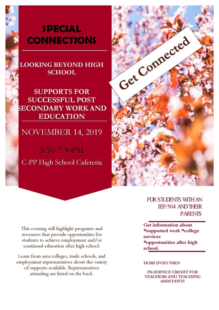 Special Connections for Students with IEP/504 and Their Parents