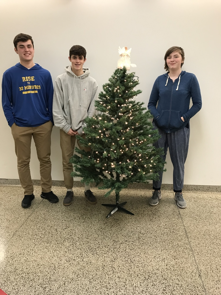 High school students setting up the tree.